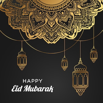 Gelukkige eid mubarak-achtergrond met lantaarn & mandala-ornament