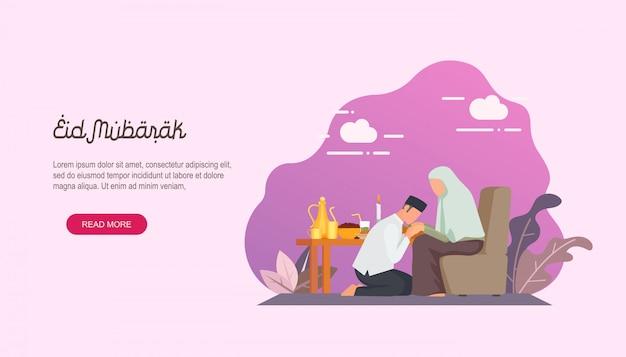 Gelukkige eid mubarak met landende landingspagina