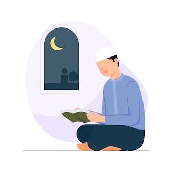 Gelukkige eid mubarak met mensenkarakter die koranconcept lezen.