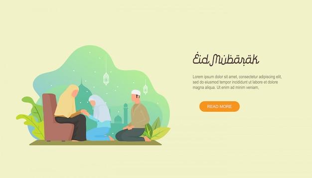 Gelukkige eid mubarak met mensenkarakter.