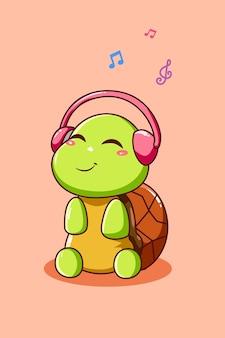 Gelukkige en grappige schildpad die muziek luistert met cartoonillustratie van de hoofdtelefoon