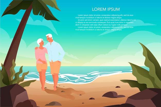 Gelukkige eniors samen tijd doorbrengen op een tropisch strand met palmen. gepensioneerd echtpaar op hun zomervakantie. landingspagina of webbanner.