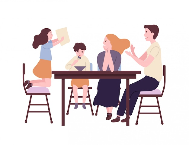 Gelukkige familie aan eettafel zitten en ontbijten, lunchen of dineren. lachende moeder, vader, zoon en dochter samen eten. ouders en kind thuis. flat cartoon illustratie.