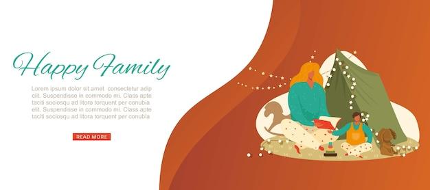Gelukkige familie belettering, ouderlijke liefde voor kinderen, schattige uitnodiging, handgeschreven, illustratie. moeder leest interessant boek voor kind, vrolijke vrolijke jeugd.