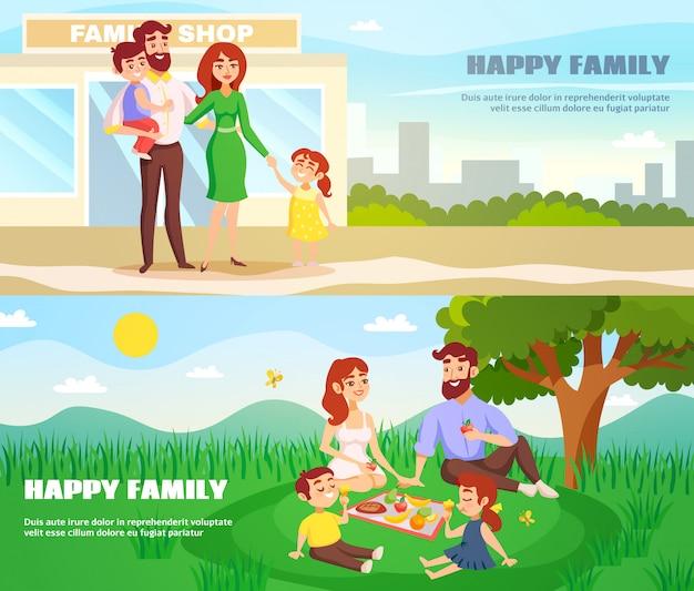 Gelukkige familie buiten horizontale banners