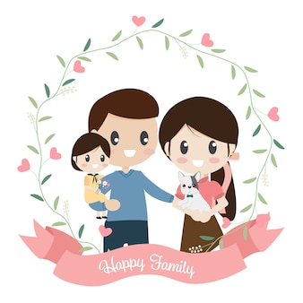Gelukkige familie cartoon vlakke stijl in hart krans