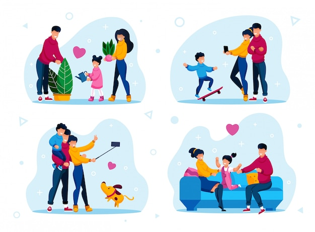 Gelukkige familie dagelijkse routines platte set