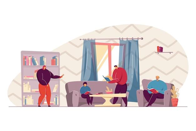Gelukkige familie die boeken thuis of bibliotheek leest. zoon zittend op de bank met boek, grootvader in fauteuil platte vectorillustratie. familie, literatuurconcept voor banner, websiteontwerp of bestemmingspagina