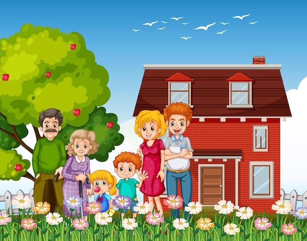Gelukkige familie die buiten huis in de tuin staat