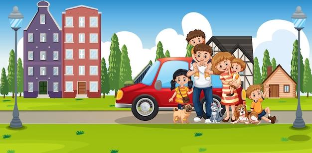 Gelukkige familie die buiten huis staat met een auto