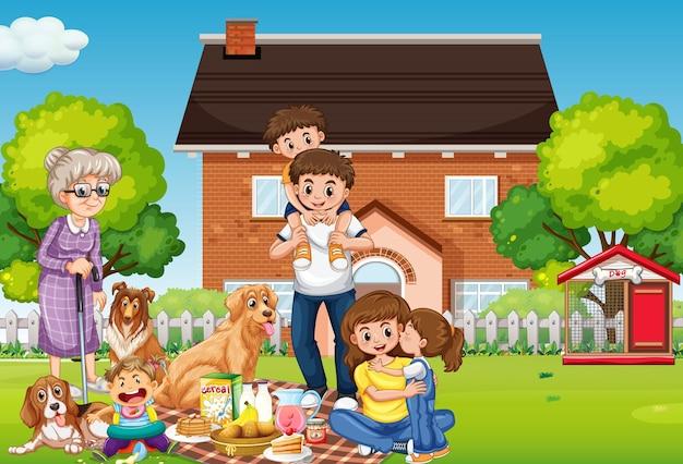 Gelukkige familie die buiten huis staat met hun huisdieren