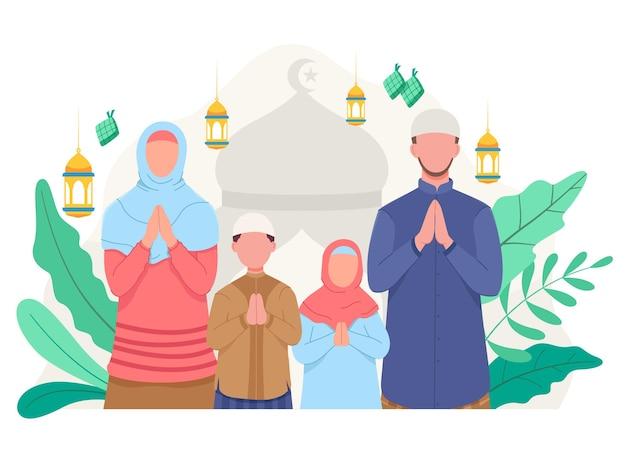 Gelukkige familie die eid mubarak vieren. illustratie in een vlakke stijl