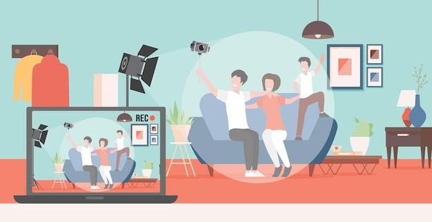 Gelukkige familie die videoblog maakt over hun leven vector plat