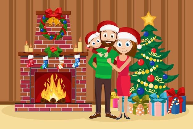 Gelukkige familie die zich naast de boom en de open haard bevindt. vader, moeder en dochter glimlachen.