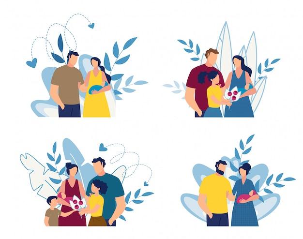 Gelukkige familie en pasgeboren baby cartoon bloemen set