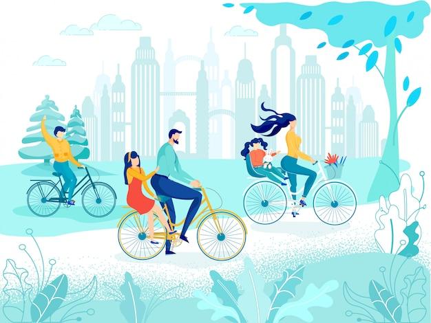 Gelukkige familie fietsen in stadspark gaan picknicken