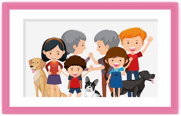 Gelukkige familie foto cartoon in een frame