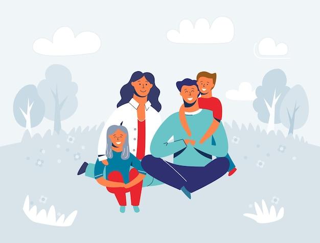 Gelukkige familie genieten van picknick. moeder, vader en kinderen tekens die en op gras glimlachen zitten. mensen in het park of bos.
