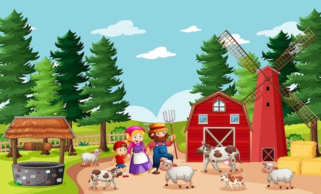 Gelukkige familie in boerderijscène in cartoon-stijl
