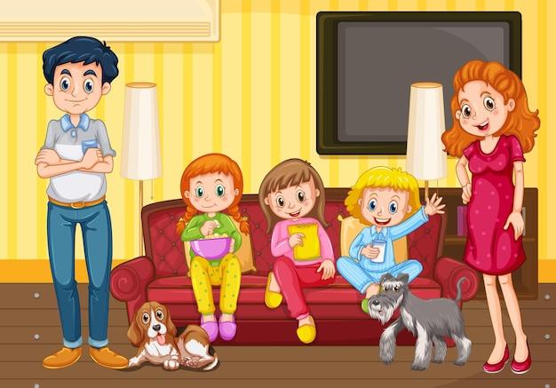 Gelukkige familie in de woonkamerscène