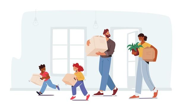 Gelukkige familie in het nieuwe huis, de karakters van mama, papa en kinderen dragen dingen en kartonnen dozen. verhuizing naar eigen appartement, hypotheek, verhuizen naar nieuw huisconcept. cartoon mensen vectorillustratie
