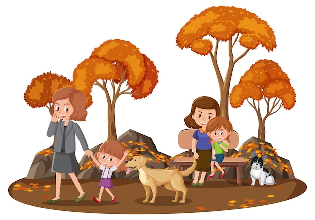 Gelukkige familie in het park met veel herfstbomen