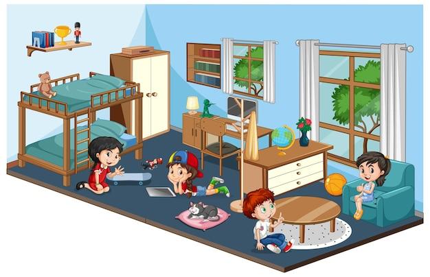 Gelukkige familie in slaapkamer met meubilair in blauw thema
