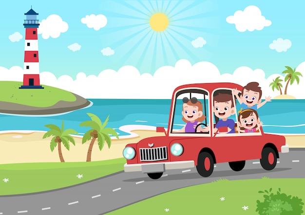 Gelukkige familie in vakantie