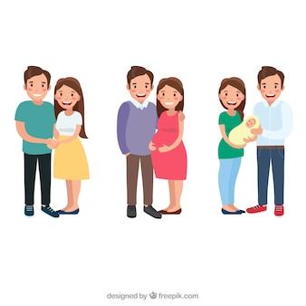 Gelukkige familie in verschillende levensfasen met platte ontwerp