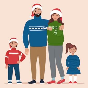 Gelukkige familie in warme kleding met kerstmis in vlakke stijl