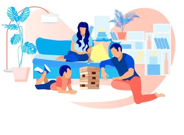 Gelukkige familie janga thuis spelen. vrije tijd