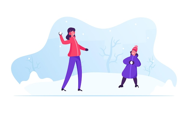 Gelukkige familie jonge moeder en dochtertje sneeuwballen spelen op straat. cartoon vlakke afbeelding