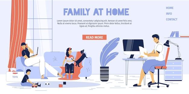 Gelukkige familie karakters, freelancer ouders werken thuis kantoor interieur werkruimte