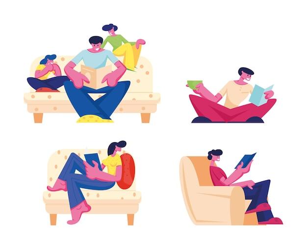 Gelukkige familie lezing hobby thuis vrije tijd set geïsoleerd op een witte achtergrond. cartoon vlakke afbeelding