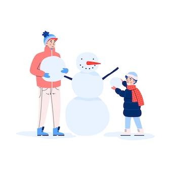 Gelukkige familie maakt samen sneeuwpop tot een vectorillustratie