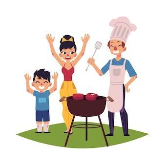 Gelukkige familie met bbq, barbecue picknick buitenshuis