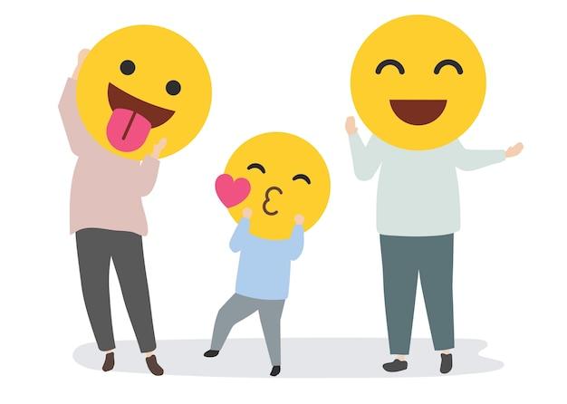 Gelukkige familie met grappige emoji's