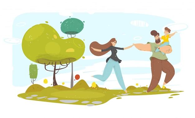 Gelukkige familie met kid loopt langs tuinpad
