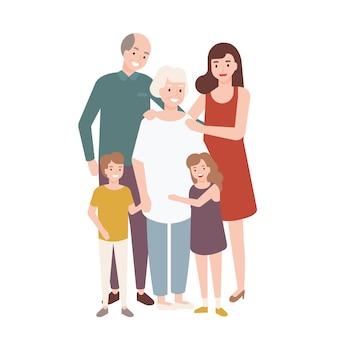 Gelukkige familie met opa, oma, moeder, kind meisje en jongen permanent samen en omhelzen elkaar.
