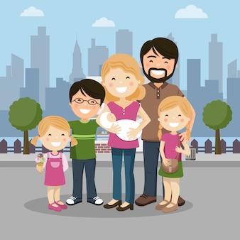 Gelukkige familie met ouders, drie kinderen en babyborn in een stad