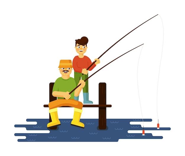 Gelukkige familie met vader en zoon die samen illustratie vissen die op witte achtergrond wordt geïsoleerd