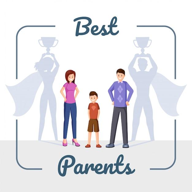 Gelukkige familie, moeder en vader met superheld schaduw