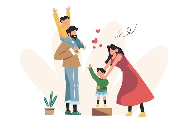 Gelukkige familie moeder vader dochter zoon hand in hand en knuffelen