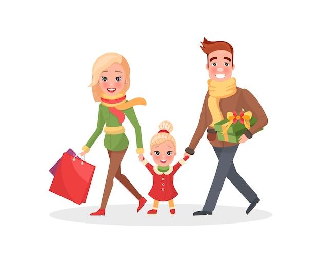 Gelukkige familie moeder vader kleine dochter winkelen