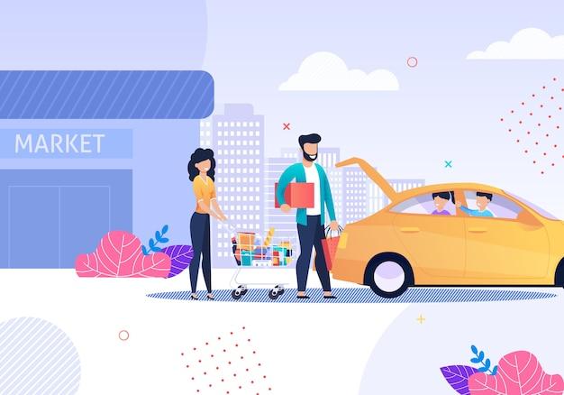 Gelukkige familie na het winkelen en taxi service cartoon.