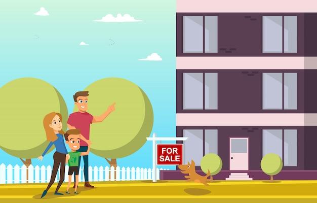 Gelukkige familie nieuw huis kopen flat vector concept