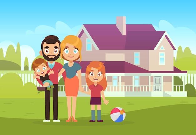 Gelukkige familie op de achtergrond van het huis. vader, moeder, zoon en dochter kinderen staan buiten, kopen en verhuizen naar een nieuw appartement zomerlandschap platte vectorillustratie