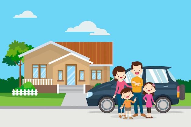 Gelukkige familie op de achtergrond van hun huis en auto