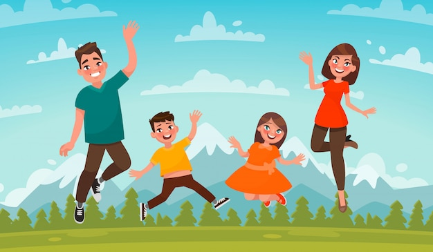 Gelukkige familie op een achtergrond van berglandschap. vader, moeder, zoon en dochter springen op het gazon.