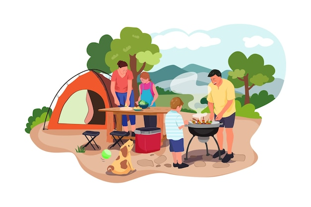 Gelukkige familie op een picknick bereidt een barbecue buitenshuis voor